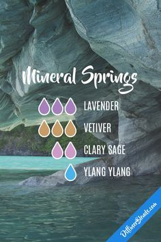 Mineral Springs Diffuser Blend with lavender, vetiver, clary sage and ylang ylang Essential Oil Diffuser Blends, Doterra Essential Oils, Young Living Essential Oils, Doterra Diffuser, Doterra Oil, Perfume, Elixir Floral, Diffuser Recipes, Belleza Natural