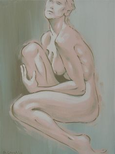 Naked 125 Original Art Pink Painting Mixed Media Artwork Paintings For Sale