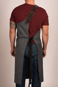 Butcher Apron: Pinstripe Grey or Pinstripe Black — Portland, OR Restaurant: The Country Cat Sewing Aprons, Sewing Clothes, Restaurant Uniforms, Work Aprons, Leather Apron, Aprons For Men, Uniform Design, Apron Designs, Fashion Project