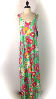 New Lilly Pulitzer Maxi Dress Sz L Big Garden By The Sea Treena 100% Cotton  #LillyPulitzer #Maxi