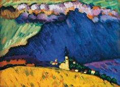 Wassily Kandinsky, Murnau from 1909. Murnau, a Bavarian Alpine village not so far from Munich, a place of breathtaking beauty — bound to inspire. The years: 1908-1909. A time and place where magic might have happend.