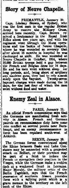 "WWI, 22 Jan 1917; ""27 bayonet charges in 14 days, with the last 4 without water and food"" -The Register, Adelaide"