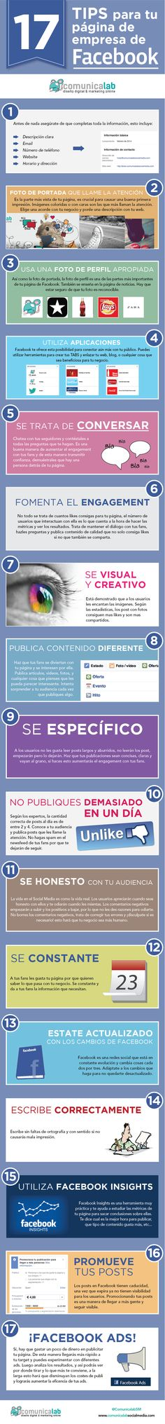 17 tips para tu página de empresa de #Facebook. #SocialMedia #MarketingOnline #RedesSociales #Infografia #Infografics