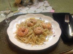 Shrimp scampi: butter,garlic,parsley,Parma cheese linguine lemon peel, lemon juice cook linguine with whole lemon