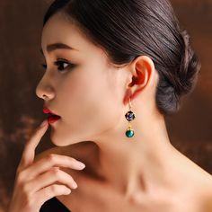 Luxury Retro Dangle Earrings Cloisonne Flower Agate Handmade Gold Earrings for Women Ethnic Jewelry Gold Earrings For Women, Ethnic Jewelry, Jumpsuits For Women, Boho Fashion, Fashion Women, Retro, Women's Earrings, Dangles, Jewelry Watches