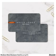 Modern Slate Business Card. Easy to make. Luxurious Slate Venetian Plaster background highlighted with a bold orange bar and your choice of text style and content. Slate Gray Professional Business Cards are ideal for a Designer, Interior Decorator, Architect, Civil Engineer, Cost Estimator, Salesperson, Project Manager, Hairdresser, Barber, Public Relations Consultant, School Counselor Occupational Therapist, Dentist, Pharmacist, Psychologists, Psychiatrist, Accountant, Tax professional…