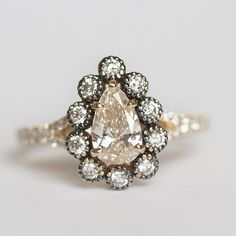 Custom Ring Designs- DEPOSIT ONLY Pear Diamond in Black Rhodium Diamond Halo - Antique Engagement Ring - Vintage Inspired by Anueva Jewelry
