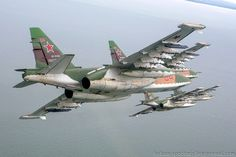 Russian Jets Flying Above the Sea SU-25 Froggers