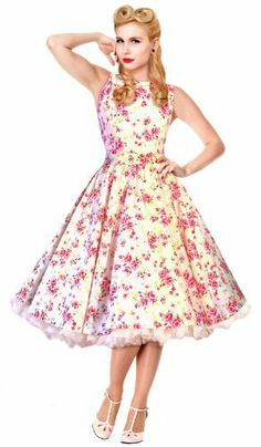 1950s 60s Cream floral Swing Dress Vintage Rockabilly Party Wedding. New S/S 14, comes with matching Head Scarf. Made in the UK. British Retro, http://www.amazon.co.uk/dp/B00EQ7HVIM/ref=cm_sw_r_pi_dp_TM3Atb1Q0S5B2