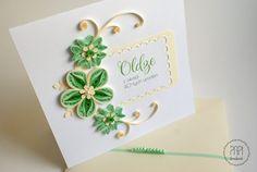 kartka urodzinowa zielono kremowa