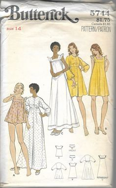 "Vintage 1970's Butterick 5744 Gown & Robe Sewing Pattern Size 14 Bust 36"" by Recycledelic1 on Etsy"
