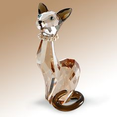Swarovski Cat Crystal Art Glass Figurine