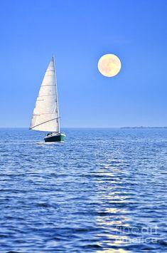 Sailboat At Full Moon Photograph.