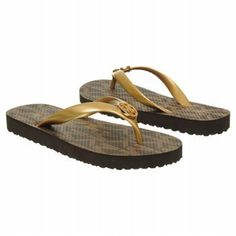 MICHAEL Michael Kors Women's Mk Brown Gold Flip Flop - This is the super luxurious and ultra chic flip flop.