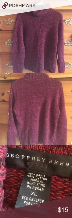 Cute knit sweater from Geoffrey  Beane size XL ⛄⛄⛄ This is a really cute sweater from Jeffrey Beene. Also  it is a size XL. I love that  it is a mock turtleneck it is a 55% Ramie  45% cotton blend. This is a really nice sweater very warm but not itchy. This brand is very well made and known for good quality products wonderful name brand Geoffrey Beene Tops Sweatshirts & Hoodies