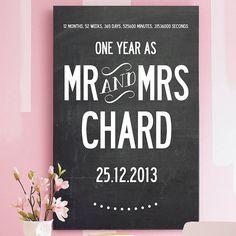 custom 1st wedding anniversary print by i love design | notonthehighstreet.com