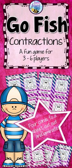 This is a popular Go Fish game to consolidate knowledge of contractions for Years 1, 2 and 3. For 3 - 6 players, it may be used during Word Work, literacy centers or any small group activity. Teaching language conventions and word usage through games is a fun way for children to practice what they have learned.