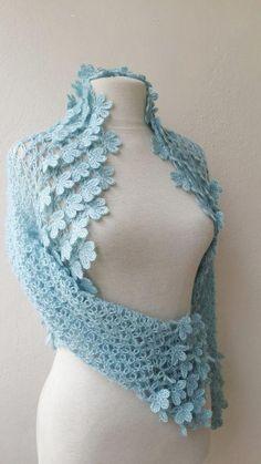Items similar to Lace shrug bolero jacket blue weddings bridal bridesmaids bride fashion on Etsy , Crochet Coat, Crochet Blouse, Crochet Scarves, Crochet Shawl, Crochet Clothes, Crochet Lace, Crochet Stitches, Beaded Lace, Crochet Bolero Pattern