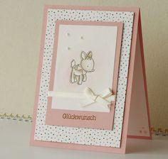 Babykarte, Karte zur Geburt eines Mädchens von Fleißiges Bienchen auf DaWanda.com Diy Cards Baby, Flower Arrangements, Stampin Up, Diy And Crafts, Baby Shower, Etsy, Inspiration, Frame, Albums