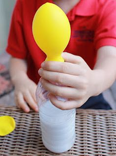Exploring Gas w/Balloons, Baking Soda & Vinegar. Also a great way to blow-up the bazillian balloons you have for a party when you are out of breath