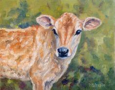 Jersey Calf  Oil Painting Cow Portrait Farm Animal Pet Bovine Portrait, painting by artist Debra Sisson