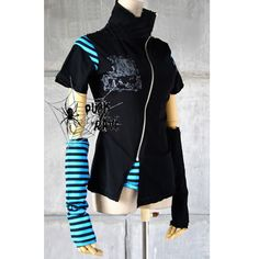 black clothing | Black and Blue Stripe Cyber Goth Punk Emo Clothes Jackets SKU-11401102