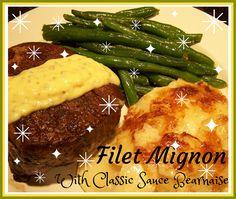 Filet Mignon with (homemade) Bernaise Sauce | from Go Ahead... Take A Bite! #FiletMignon #BearnaiseSauce #Homemade #ChristmasDinner #SpecialMeals #HolidayMeals #ClassicSauces #BeefTenderloin #Gratin #Potatoes #HolidayRecipes
