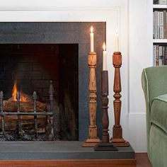 Vintage wood balusters can make for stately candleholders set up on a hearth. For just a few dollars you can make them in less than an hour with our step-by-step instructions. | Photo: John Gruen | thisoldhouse.com
