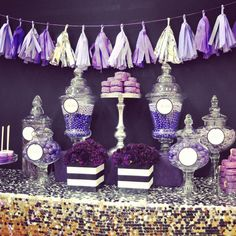 Purple candy bar, silver sequins table linen, black and whit stripe ...