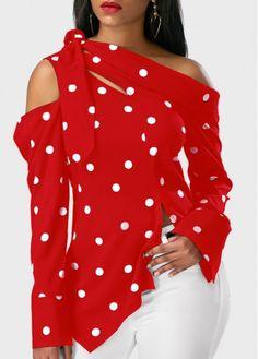 Long Sleeve Polka Dot Print Asymmetric Hem Red Blouse | Rosewe.com - USD $27.75