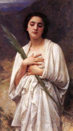 William-Adolphe Bouguereau (1825-1905) - The Palm Leaf-  nella simbologia la palma del martirio e, in generale, la palma , è intesa come simbolo del Cristianesimo. si  pensava che la pianta nel fiorire e generare i frutti (e quindi i semi) morisse: il legame con il martirio è quindi dovuto a una simbologia di sacrificio. Il suo significato è quello della vittoria, dell'ascesa, della rinascita e dell'immortalità