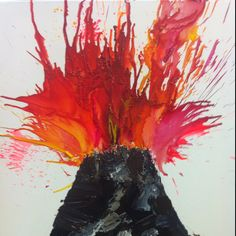 volcano painting.  Paint simple black triangle and place several puddles of yellow, orange and red.  With a straw blow the paint.  It swirls and bubbles, making a realistic lava effect!