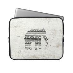 aztec tribal elephant laptop case  http://www.zazzle.com/aztec_tribal_elephant_black_white_vintage_wood_laptop_sleeve-124724416310534736