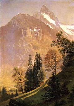 Mountain Landscape, Albert Bierstadt. American Hudson River School Painter, born in Germany. (1830 - 1902)