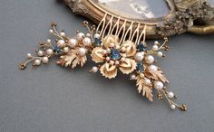 Gold Bridal Crystal Comb Gold  comb  wedding gold comb by ZTetyana