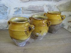 "3 small French confit pots, set of 19th century ""graisselle"" ochre glazed terracotta pots for confit de canard by Histoires on Etsy"