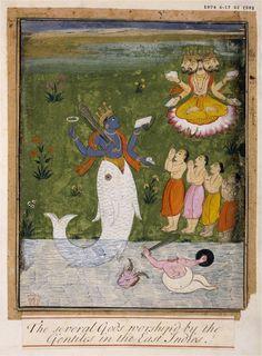 LAS VOCES DE JUNUUNAY: Mitos hindúes: 1.º Avatar de Vishnú: MATSYA, el Pez