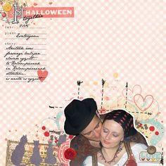 Digital Scrapbooking Layout using Just Jaimee february storyteller and halloween ephemera brushes.