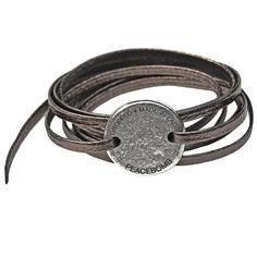 Men's jewelry ideas - Coin Wrap Bracelet Pewter jewelry, pewter, bracelets