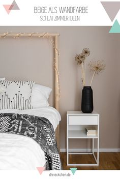 New wall paint for the bedroom - Beige as wall color – bedroom ideas in boho style Informations About Neue Wandfarbe fürs Schlafzi - Beige Wall Paints, Beige Walls, Bedroom Wall Colors, Room Decor Bedroom, Bedroom Ideas, New Wall, Murs Beiges, Art Deco, Minimalist Bedroom