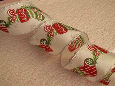 Christmas Ribbon, Christmas Stocking, 3 YARDS, Bows, Wreaths, Home Decor