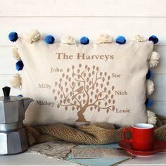 Family Tree Tassel Cushion