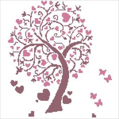 Heart Tree Instant Download - Cross Stitch Embroidery Pattern - Embroidery Art