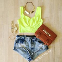 Cute neon crop top with jean short - so cute http://www.studentrate.com/fashion/fashion.aspx
