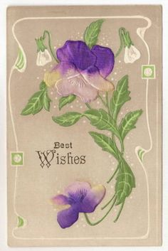 Purple-Silk-Flower-Best-Wishes-Vintage-Postcard