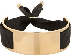 Marc by Marc Jacobs Gold-plated and grosgrain ribbon bracelet #black #gold #bracelet #fashion #boho #accesory