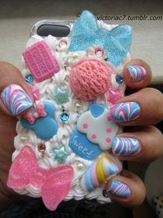 Decoden + matching nail art!  It's like a cuteness overload!