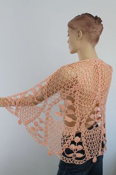 Apricot Cotton Lace Crochet Shawl - Holiday Accessories - Fall Wedding. $129.00, via Etsy.