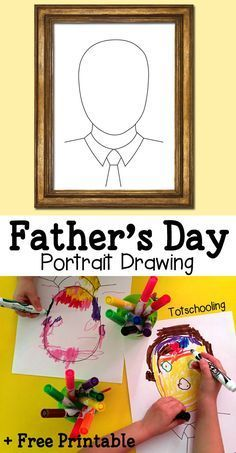Make dad's portrait for Father's Day using this FREE printable drawing prompt. Can be used in different ways, by drawing, coloring, making a collage or with playdough!