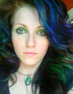 Dark brown hair with blue, green, and purple highlights | Flickr - Photo Sharing!